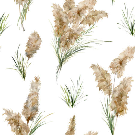 Watercolor tropical seamless pattern of green and dry pampas grass. Hand painted exotic plant isolated on white background. Floral illustration for design, print, fabric or background.