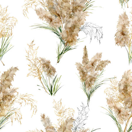 Watercolor linear seamless pattern of green, black and gold pampas grass. Hand painted exotic dry plant isolated on white background. Floral illustration for design, print, fabric or background.