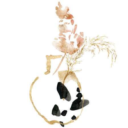 Watercolor tropical composition of gold pampas grass and abstract vase. Hand painted linear card of plant isolated on white background. Floral illustration for design, print, fabric or background. 写真素材