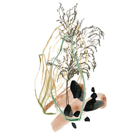 Watercolor abstract composition of pencil vases and linear pampas grass. Hand painted linear card of plant isolated on white background. Floral illustration for design, print, fabric or background.