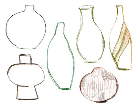 Pencil abstract set of ceramic and metal vases. Vintage illustrations isolated on white background. For design, print, interior or background.