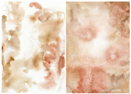 Watercolor abstract background with beige, red and pink spots. Hand painted pastel illustration isolated on white background. For design, print, fabric or background.