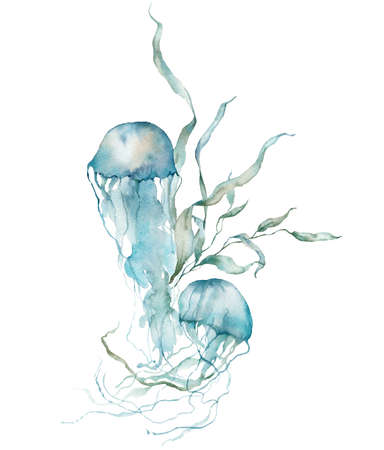 Watercolor tropical card of blue jellyfish and laminaria. Underwater animals and plant isolated on white background. Aquatic illustration for design, print or background. Trendy nautical collection.