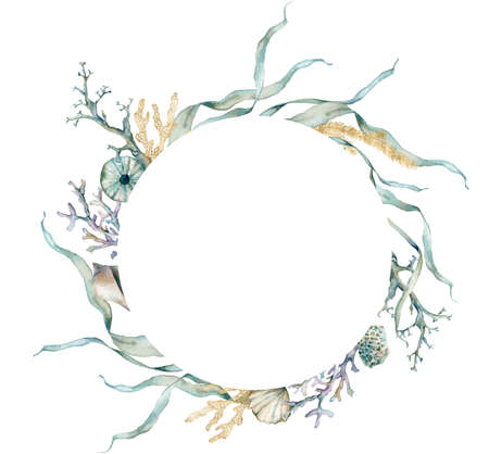 Watercolor underwater frame of shells, gold laminaria and linear corals. Tropical animals and plant isolated on white background. Aquatic illustration for design, print or background.