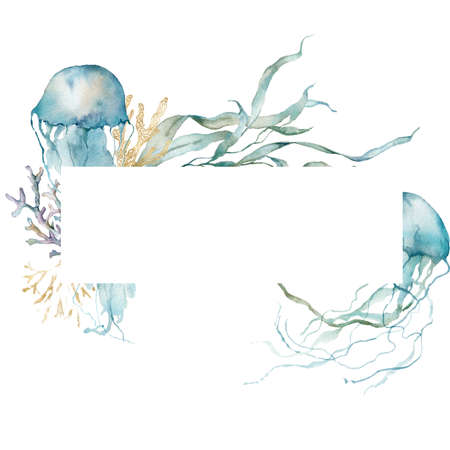 Watercolor underwater frame of jellyfishes, linear laminaria and gold corals. Tropical animals and plant isolated on white background. Aquatic illustration for design, print or background. 写真素材