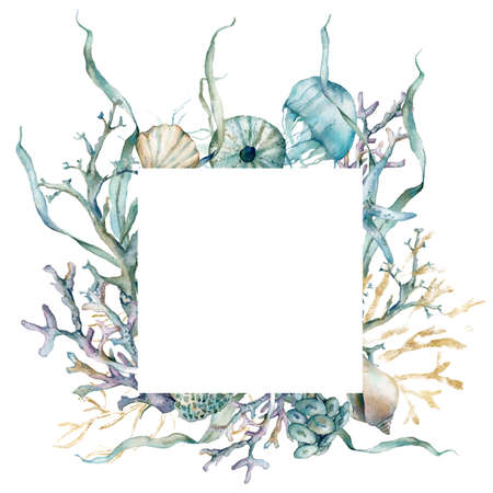 Watercolor underwater frame of jellyfish, shells, laminaria and gold corals. Tropical animals and plant isolated on white background. Aquatic illustration for design, print or background.