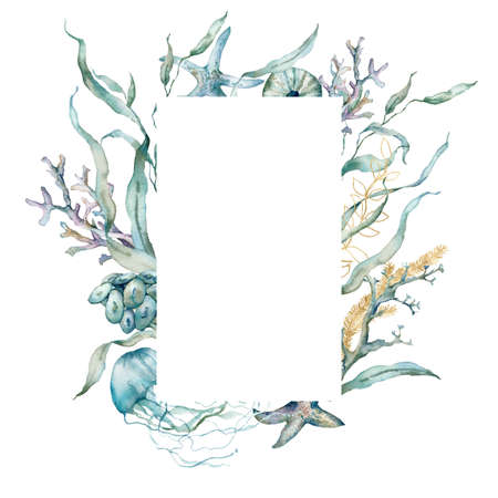 Watercolor underwater frame of jellyfish, shells, linear laminaria and gold corals. Tropical animals and plant isolated on white background. Aquatic illustration for design, print or background.