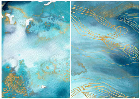 Watercolor ocean linear texture with blue, white and gold. Hand painted sea or ocean abstract background. Aquatic illustration for design, print or background.