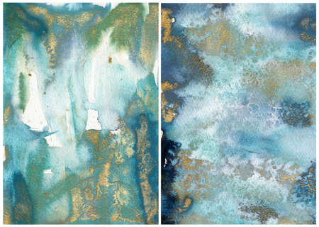 Watercolor ocean abstract texture with blue, white and gold. Hand painted sea or ocean background. Aquatic illustration for design, print or background.