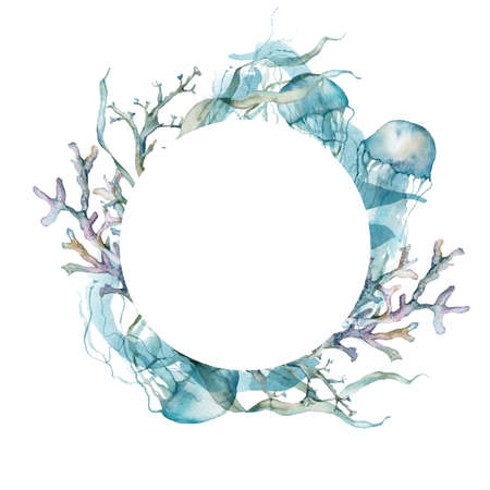 Watercolor underwater frame of jellyfish, laminaria and corals. Tropical animals and plant isolated on white background. Aquatic illustration for design, print or background. 写真素材