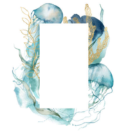 Watercolor abstract frame of shell, jellyfish, gold laminaria and linear corals. Underwater animals and plant isolated on white background. Aquatic illustration for design, print or background.