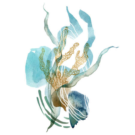 Watercolor abstract card of linear corals and gold laminaria. Underwater animals and plant isolated on white background. Aquatic illustration for design, print or background.