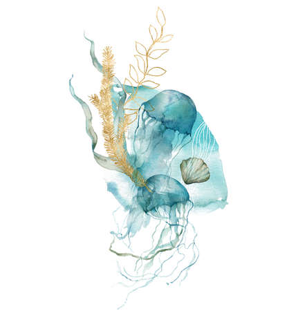 Watercolor abstract card of shell, jellyfish, linear and gold laminaria. Underwater animals and plant isolated on white background. Aquatic illustration for design, print or background.