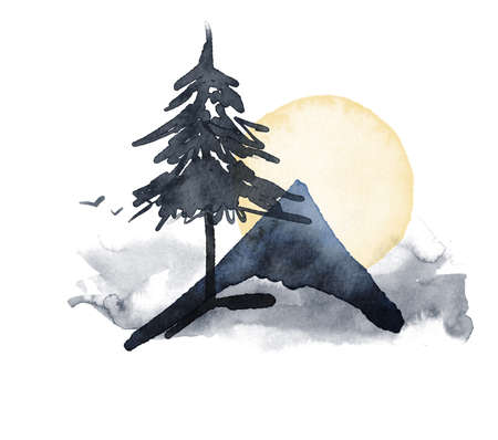 Watercolor abstract composition of mountain, tree and moon. Hand painted winter card isolated on white background. Minimalistic illustration for design, print, fabric or background.