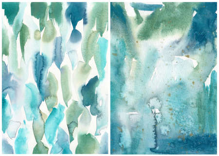 Watercolor abstract blue, green and white texture. Hand painted sea or ocean abstract background. Aquatic illustration for design, print or background.