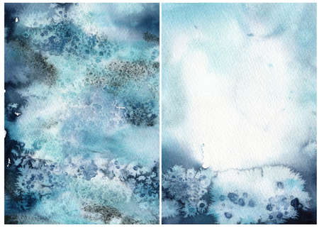 Watercolor abstract blue, white and salt effect texture. Hand painted sea or ocean abstract background. Aquatic illustration for design, print or background.