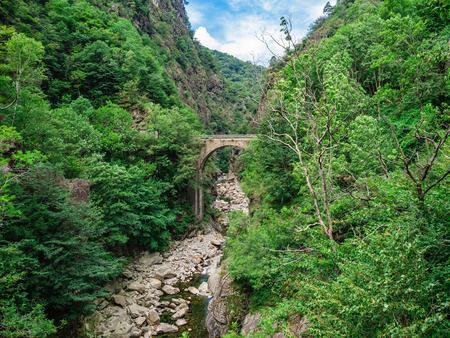 Casletto Bridge in Val Grande National Park in Piedmont, Italy
