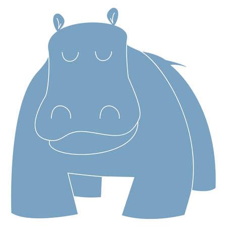 Cartoon Illustration of Hippo or Hippopotamus Funny Animal Character