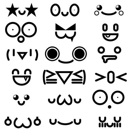 cute kawaii emoticon face collection isolated on white background.