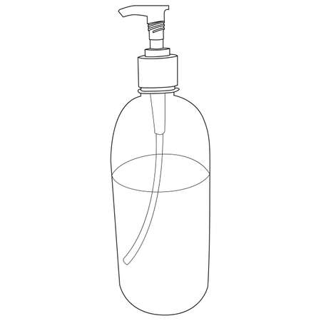 Vector graphic. Line, outline design icon on a white background. Hand disinfection gel. Sanitizer. Liquid antibacterial soap. Editable Stroke Иллюстрация