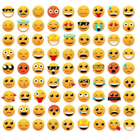 Set of emoticon vector isolated on white background. Emoji vector. Smile icon collection. Emoticon icon web