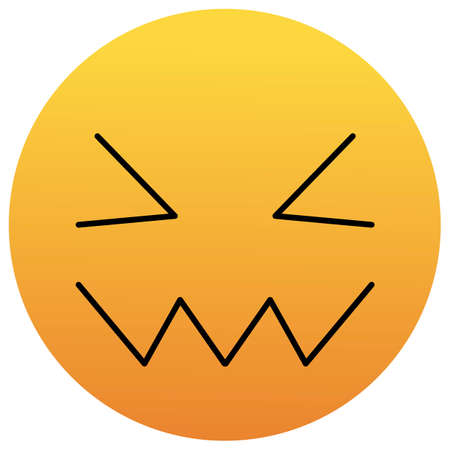 Confounded Unhappy Smile of Emoticon. Confused Smile Icon. Yellow Emoji.