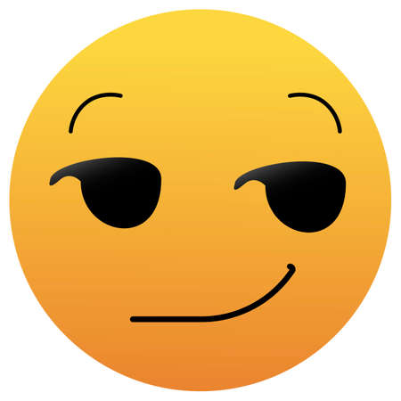 Smirking Emoji. A yellow face with a sly, smug, mischievous, or suggestive facial expression. A half-smile raised eyebrows, and eyes looking to the side.