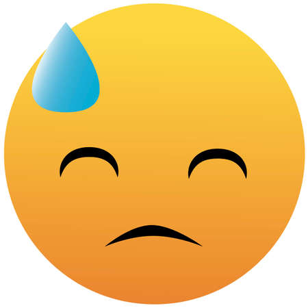 sadness in a cold sweat colored emoji sticker icon. Element of emoji for mobile concept and web apps illustration. Isolated on white background