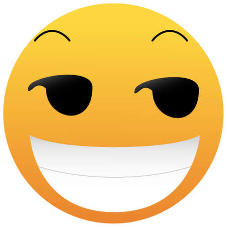 Smirking Emoji. A yellow face with a sly, smug, mischievous, or suggestive facial expression. A half-smile raised eyebrows, and eyes looking to the side with a broad open smile.