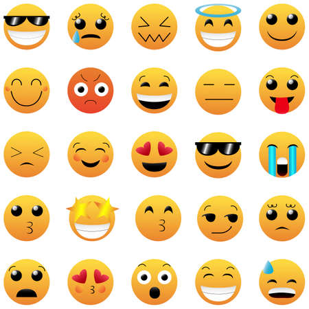 Set of Cute Emoticons on White Background. Isolated Vector Illustration.
