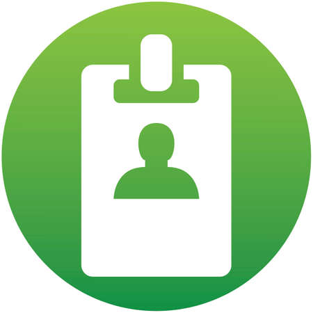 Web icon in green circle. Business; blank id cards with clasp (badge) isolatedon white background.