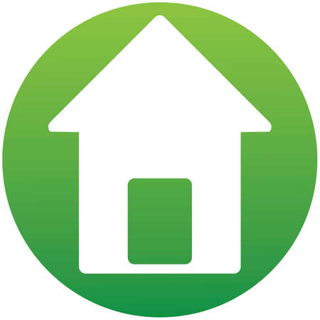 Small house. Icon Vector. Simple flat symbol in green circle. Icon of a set. Illustration isolated on white background
