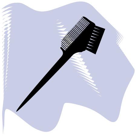Black and white two side hair dye brush. Beauty salon tool. Hairdresser equipment vector illustration.
