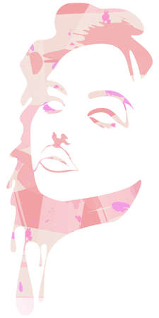 Vector modern, abstract elegant grungy fashion portrait illustration of a set