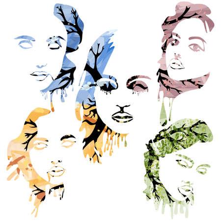 Four seasons women face silhouettes abstract design. Vector Фото со стока