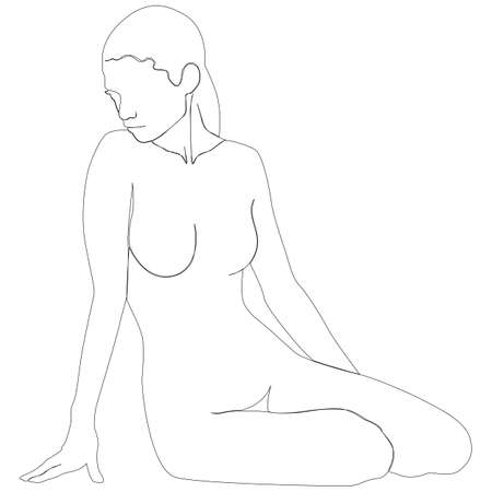 Continuous line drawing of sitting nude woman. One line Vector