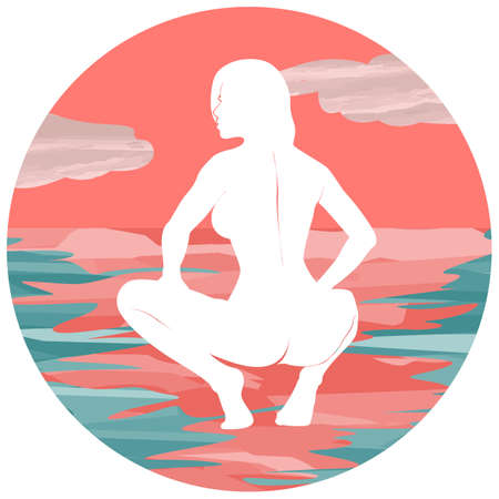Sea sunset silhouette of naked woman. Vector Иллюстрация