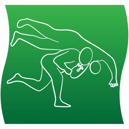 Judo wrestler line icon of a set on white background. Vector illustration. EPS 10