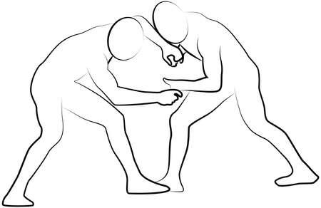 Wrestling icon of a sport set. Line vector illustration EPS 10 Illustration