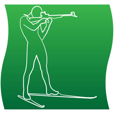 Silhouette biathlon shooter, skier aim at the target. Icon of a sports set. Vector EPS 10 Иллюстрация