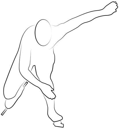 Speed skating, stylized silhouette line icon of a sports set. Vector EPS 10