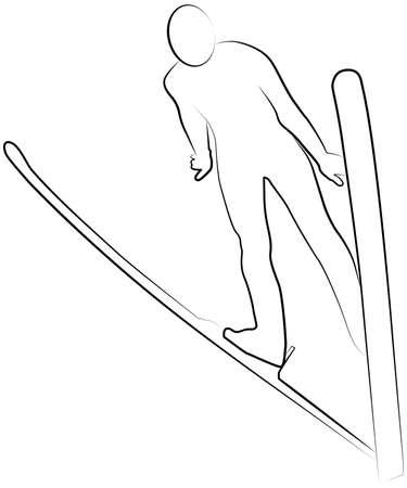 Vector ski jumper sportsman line icon of a sports set. EPS 10