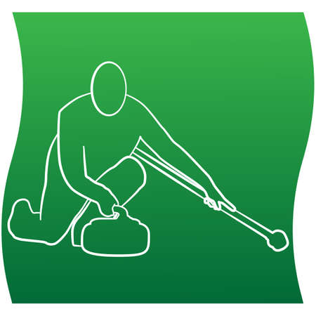 Curling player line icon of a sports set. Vector EPS 10