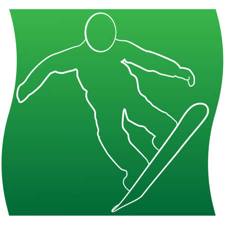 Silhouette of a snowboarder jumping line icon of a sports set. Vector EPS 10 Иллюстрация
