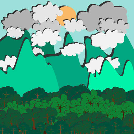 Beauty landscape paper art style with shiny background vector illustration, landscape pattern with trees and mountains