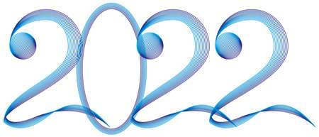 New year poster design. Decorate numbers 2022 with colorful line strokes effect. Vector illustration.