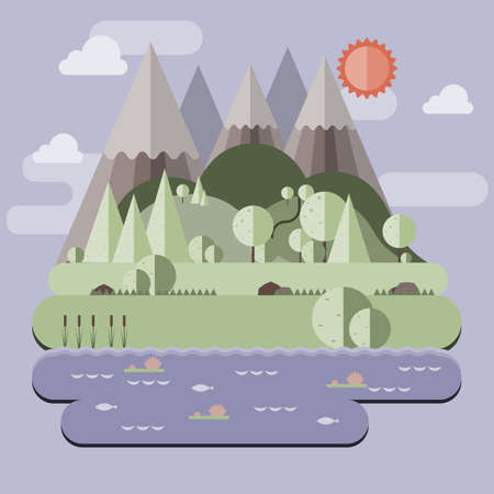 Sunny day landscape illustration in flat style with mountains, forest and water. Background for summer camp, nature tourism, camping or hiking design concept.