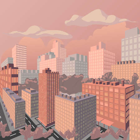 Evening cityscape perspective vector illustration. Sunset landscape vector concept illustration
