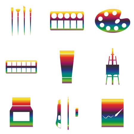 Vector rainbow Icons set arts, paintings. Gradient