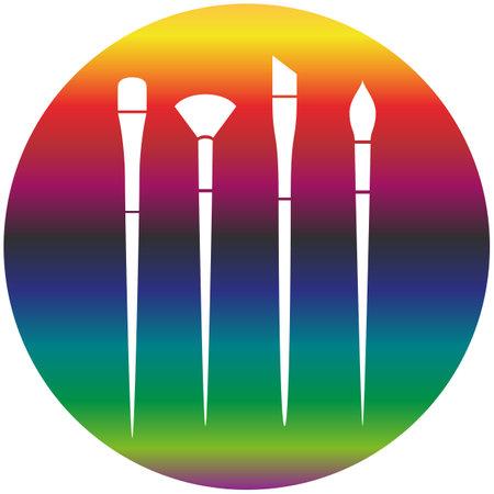 Clean vector color art brush symbol icon set. Rainbow gradient